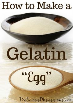 If you're egg free, you simply must learn How to Use Gelatin for Egg Replacement! Gelatin eggs are great binders and can be used in place of real eggs. Gelatin is a great egg replacement. Egg Free Recipes, Whole Food Recipes, Healthy Recipes, Delicious Recipes, Gelatin Recipes, Substitute For Egg, Paleo Dessert, Sans Gluten, Vegetarian Recipes
