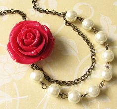 Red Rose Necklace Pearl Jewelry Flower Necklace Bridal Party Gift Bridesmaid Red Necklace Romantic Wedding Maid of Honor Jewelry Set on Etsy, $30.00