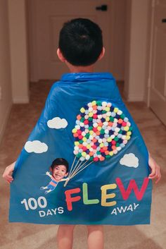 From Up, Up & Away. 100 Days of School Cape made from Pom poms & felt.