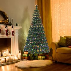 LED Fiber Optic Artificial Christmas Tree with Top Star Christmas Tree Prices, Christmas Trimmings, Pre Lit Christmas Tree, Copper Wire Fairy Lights, Fiber Optic Christmas Tree, Light Colors, Holiday Decor, Christmas Decorations, Led