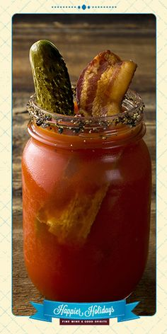 Bloody Mary: 2 oz vodka, ½ tsp dried dill, ½ tsp ground white pepper, ½ tsp celery salt, 2 dashes Worcestershire sauce, 2 dashes Tabasco sauce, ½ oz dill pickle brine, Juice of 1 lemon wedge, 1 tsp horseradish, 4 oz tomato juice, 1 kosher dill pickle & 1 cooked bacon slice for garnish.  Rim a tall glass with Old Bay Seasoning; set aside. Combine remaining ingredients  in a shaker and fill with ice. Shake gently and pour into prepared glass. Garnish with a pickle and bacon slice.
