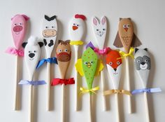 Our adorable wooden puppets are fashioned from wooden spoons measuring approximately 10 long and are sure to spark your childs imagination as they Easter Crafts, Diy And Crafts, Christmas Crafts, Crafts For Kids, Arts And Crafts, Wooden Spoon Crafts, Wooden Spoons, Painted Spoons, Diy Y Manualidades