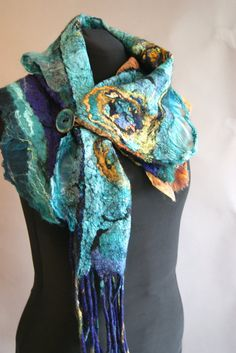 Nuno Felted scarflette a SugarPlum Original by J. Gauger