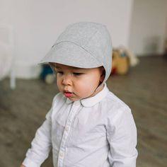 Boy Sun Cap Grey Linen Baby bonnet baby sun hat modern