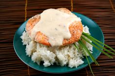 This simple recipe for baked salmon is served with a wonderful creamy coconut- ginger sauce. Photograph included.