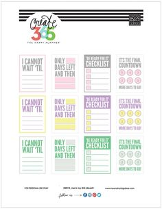 'COUNTDOWN' free printables for The Happy Planner™️ | me & my Big ideas