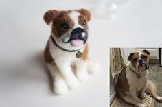 Aguja fieltro Bulldog Inglés retrato lana por JanetsNeedleFelting