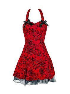 "Robe rockabilly vintage HR London ""Red Flocking Mini Dress"" - rockangehell.com"