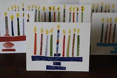 Fun Hanukkah Craft for Kids: Cut out paper strips from magazines and wrapping paper to create menorah holiday cards!