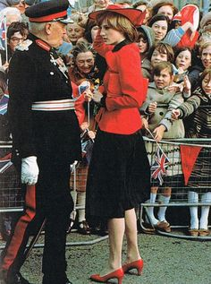 October 27, 1981 Princess Diana meets the public during a walkabout in Rhyl, Wales