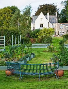 THE FRUIT AND VEGETABLE GARDEN IN DEVON.- love the painted raised beds!