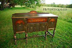 Custom Finished Antique Sideboard/Buffet Dark Distressed Grey with Birds eye Maple veneer! www.facebook.com/Vintique.co