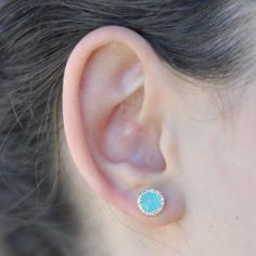 Teal Studs - Love this icy color! Beautiful for a bride.