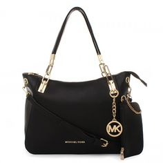 It Is Your Best Chance To Purchase Your Dreamy Michael Kors Cynthia Logo Large Black Satchels Here! #michael #kors #outlet