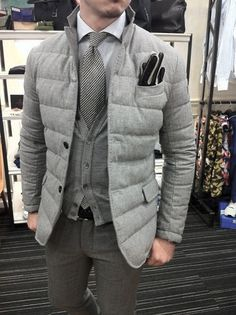 Male Winter Outfits Styles Grey Vest