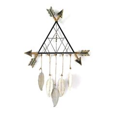Create a stylish wall collage with this triangle dreamcatcher wall decor. Arrow accents Distressed detail x x Metal, wood Attached keyhole Horizontal display Wipe clean Model no. Wood Feather, Feather Wall Decor, Dream Catcher Decor, Dream Catchers, Macrame Wall Hanging Diy, Welcome Home Gifts, Home Decor Sets, Native American Crafts, Macrame Patterns