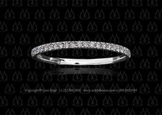 String micro pave wedding band ultra thin by Leon Mege