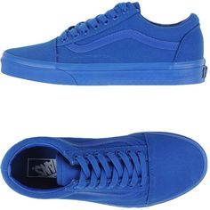 Vans Low-tops & Trainers ($78) ❤ liked on Polyvore featuring shoes, sneakers, bright blue, leather trainers, leather flat shoes, round toe shoes, vans trainers and flat sneakers