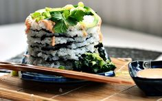 <p>Sticky rice pancakes are paired with a tasty green filling made from avocado, kale, and cucumber and drizzled with creamy, spicy Sriracha mayo.</p>