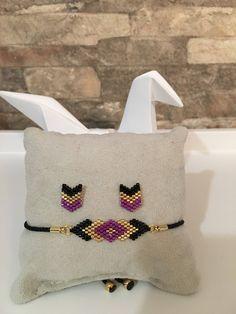 set bracelet and Earring posts chic miyuki glass beads woven by hand - Jewelry set Parure bijoux bracelet et boucles d'oreilles clous chic en Beaded Bracelet Patterns, Beading Patterns, Beaded Earrings, Beaded Bracelets, Hand Jewelry, Seed Bead Jewelry, Jewelry Crafts, Glass Jewelry, Jewelry Ideas