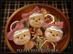 Country Primitive Christmas Gingerbread Girls by PlumCreekPeddler, $13.95