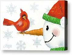 whimsical cardinals | Whimsical Christmas Cards Canvas Prints and Whimsical…