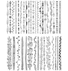 Hand drawn line border set vector by Elmiko on VectorStock®