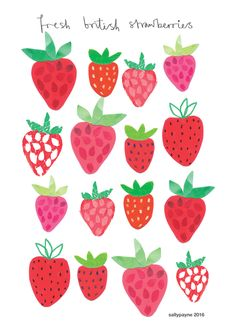 SALLY PAYNE - freash strawberries - Illustration and surface pattern