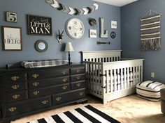 Black & White Nursery - Project Nursery rustic black white and steel blue nursery with gallery wall Black White Nursery, Grey Nursery Boy, Nursery Room, Rustic Nursery Boy, Nursery Neutral, Baby Boy Rooms, Baby Boy Nurseries, Baby Nursery Ideas For Boy, Baby Boy Nursery Themes