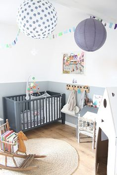 Gray Nursery with Natural Jute Rug - #nursery