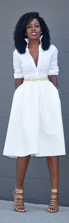 Button Down Shirt + White Box Pleat Midi / Fashion By Style Pantry