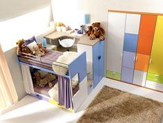 bunte kinderzimmermöbel hochbett kleiderschrank unten | deko, Mobel ideea