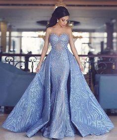 elegant sweetheart mermaid prom dress with detachable train, fashion mermaid sweetheart blue party dress with detachable train