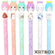 Buy Kawaii Japanese Kokeshi Doll Gel Pen - White at ARTBOX ($2.72) ❤ liked on Polyvore featuring home, home decor, office accessories and white gel pen