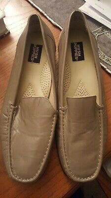 Nwob Hush Puppies Womens Loafer Grey Leather Moc Toe Slip On Size