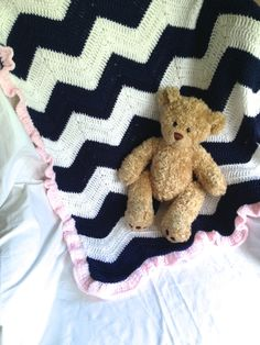 Beautiful Crochet Baby Blanket - Navy and White Chevron with Pink Ruffle Trim on Etsy, $50.00