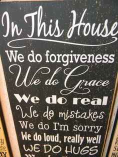 In this House - family rules typography large wood sign. $39.00, via Etsy.