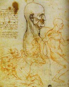 """""""Responsabile di misura, e cavalieri"""", gesso, inchiostro di Leonardo Da Vinci (1452-1519, Italy)"""