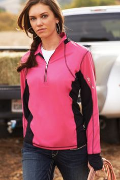 Ariat Bryce Pullover - Available in Cloudless Pink (pictured) and in Cabernet, this pullover keeps the core comfortable and dry with Ariat's signature Moisture Management Technology.