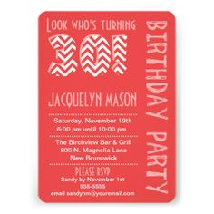 Coral Look Who's Turning 30 Birthday Invitation