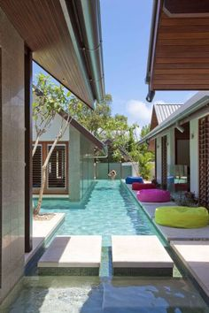 The Lap pool at the Beachfront Mirage Estate Executive Retreat in Port Douglas, Australia. Modern Pools, Luxury Pools, Cool Pools, Outdoor Areas, Outdoor Pool, Pool Backyard, Pool Houses, Swimming Pools, Lap Pools