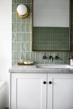 Tile bathrooms 317714948717020185 - modern green tile vanity bathroom – Source by diaryofaTOgirl Bathroom Design Inspiration, Bad Inspiration, Bathroom Interior Design, Interior Livingroom, Interior Inspiration, Bathroom Faucets, Bathroom Storage, Vanity Bathroom, Bathroom Organization