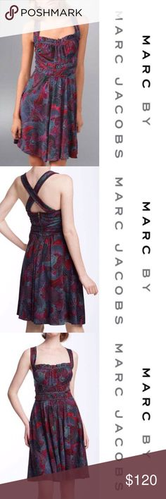 Beautiful Cross Back Circus Paisley Dress  Gorgeous! In excellent condition. Soft and has stretch. Marc by Marc Jacobs Circus Paisley Dress with cross back and darling designs. Small ruffle under bust with empire waist. Zip up the back. Ask any questions.  Marc by Marc Jacobs Dresses