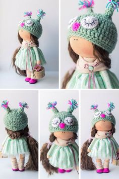 Green tilda doll Art doll handmade brown by AnnKirillartPlace