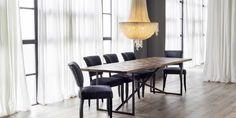 VERSAILLES LARGE DINING TABLE (Oak)  MIMI DINING CHAIR (Velvet/Oak)