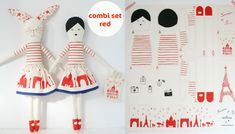 "mikodesign's ""I love Paris"" doll and rabbit sew-it-yourself kit. Also comes in blue. $43"
