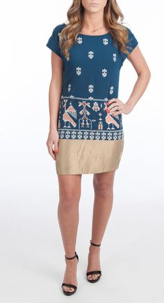 Brand Floreat Style Avian Myth Sheath Dress Material Polyester Color Blue/Gold Multi Description Shift silhouette. Embroidery throughout. V-back. Short sleeves. Ballet neckline. Back zip closure. Mini