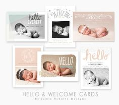 Hello and Welcome Birth Announcement templates by Jamie Schultz Designs.