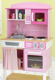 Modern wooden play kitchen for Kidkraft cuisine familiale