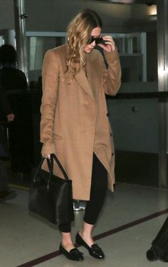 AIRPORT LOOK: ASHLEY | CAMEL COAT + LOAFERS -- Click to get the look...